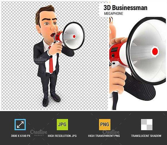 3D Businessman Megaphone