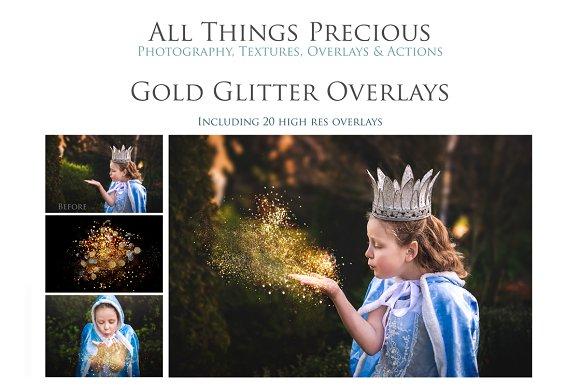 Fine Art Golde Glitter Overlays
