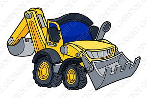 Cartoon Bulldozer Digger Vehicle