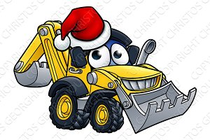 Cartoon Christmas Digger Bulldozer Character