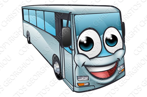 Coach Bus Cartoon Character Mascot