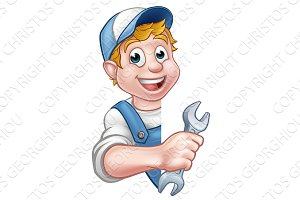 Plumber or Mechanic Holding a Spanner