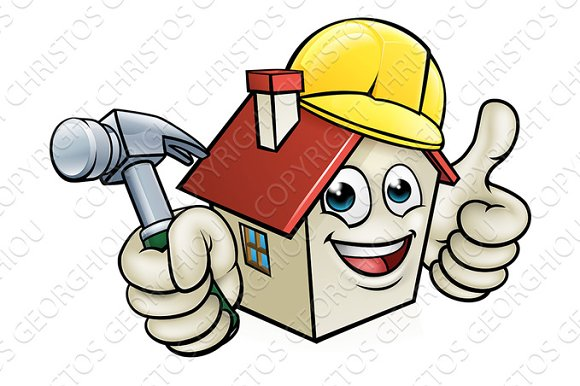 House Construction Mascot Cartoon Character