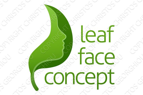 Green Leaf Face Concept