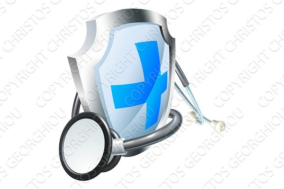 Healthcare Concept Shield And Stethoscope