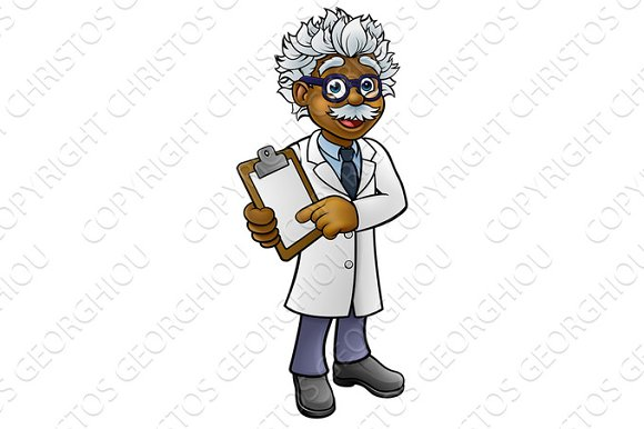 Scientist Cartoon Character Holding A Clipboard
