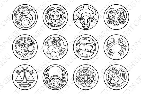 Horoscope Astrology Zodiac Star Signs Icon Set