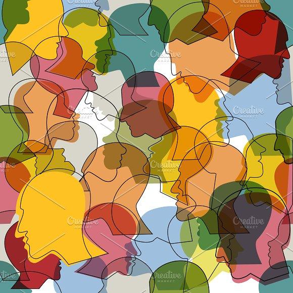 Seamless Pattern Of Profile Heads