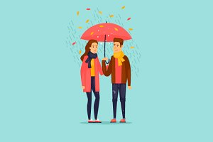 Autumn couple with an umbrella