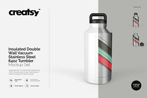 Stainless Steel Tumbler 64oz Mockup