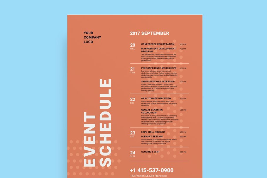 Schedule Event Poster Template, Vol3 ~ Flyer Templates
