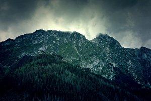 Dark mountains landscape.
