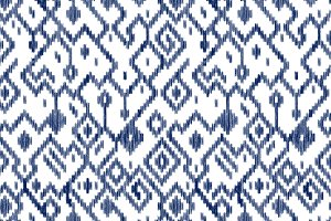 Blue ikat ethnic seamless pattern