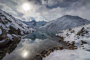 Himalaya Mountains and lake. Nepal.