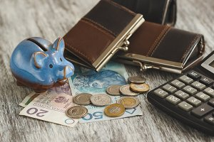 Polish zloty with little wallets, piggy bank and calculator on the wooden background