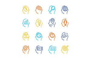 Human Mind Line Icon Set. Vector