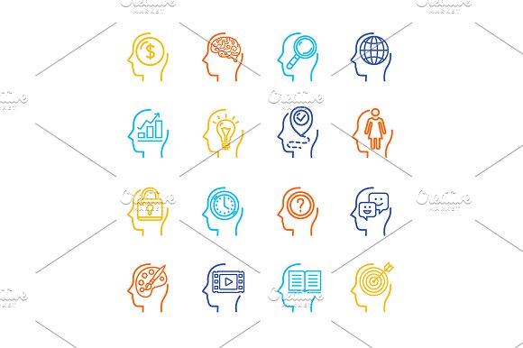 Human Mind Line Icon Set Vector
