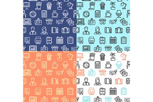 Office Work Pattern Background Set