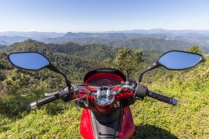 Motorbike in mountains
