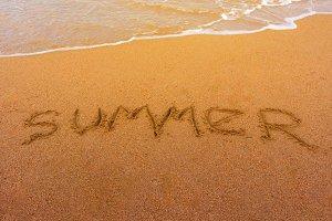 Text summer on beach