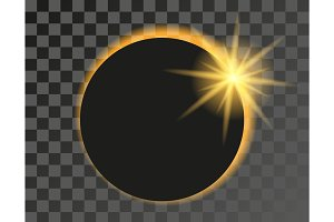 Solar eclipse illustration on transparent background