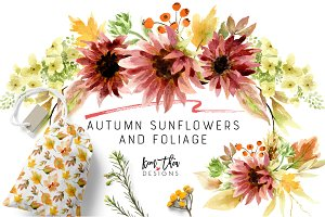 Autumn Sunflowers and Foliage