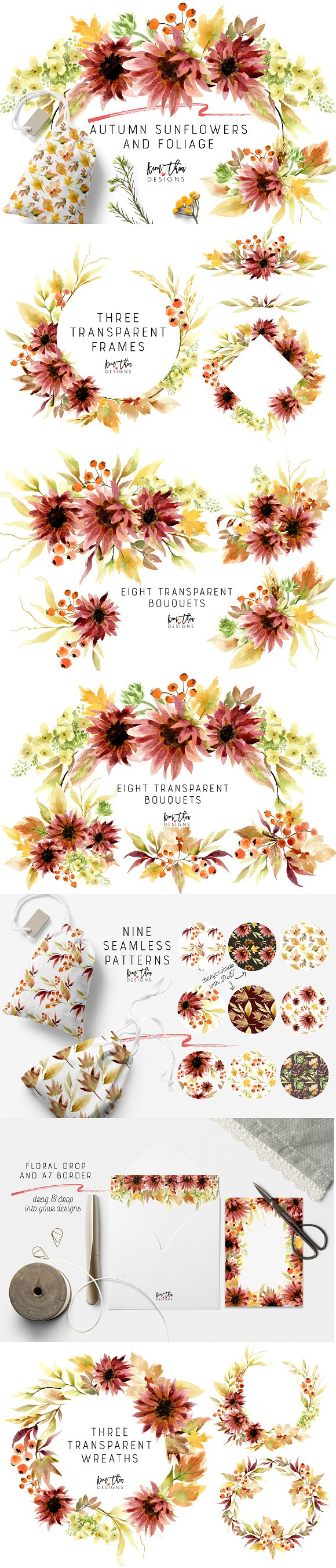 NEW Autumn Sunflowers And Foliage