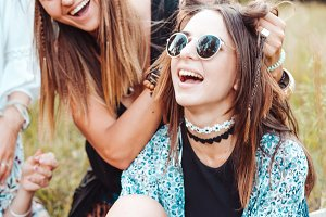 Two girls having fun in nature