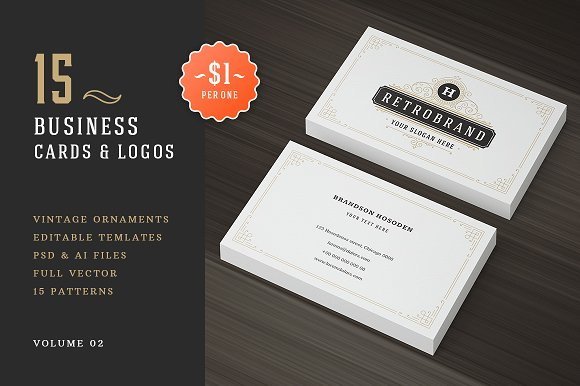 15 Ornaments Business Cards Bundle