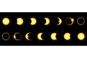 Solar Eclipse phases in dark sky.