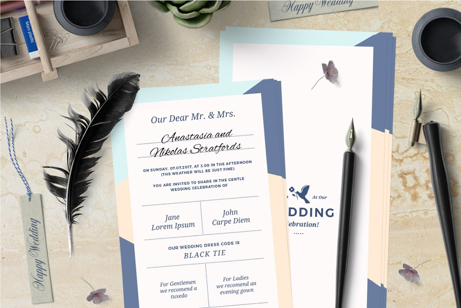 Classy Modern Wedding Invitation Templates