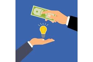 Buy dollars idea, business concept