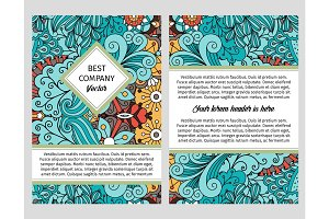 Brochure design with swirls and leaves