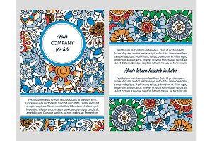 Brochure design with blue floral background