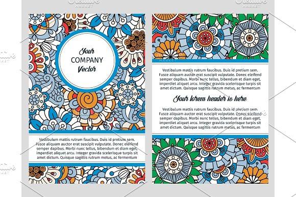 Brochure Design With Blue Floral Background