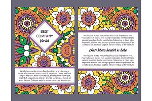 Brochure design with vintage floral pattern