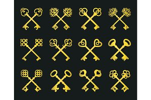 Old golden crossed keys set