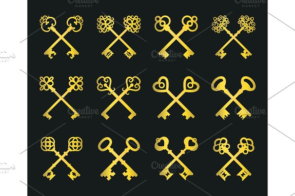 Old Golden Crossed Keys Set