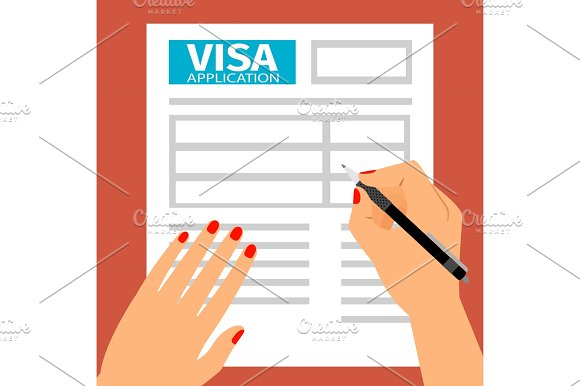 Woman Hands Filling Out Visa Application