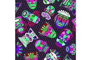 Pink and green masks on dark, seamless pattern