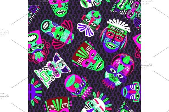 Pink And Green Masks On Dark Seamless Pattern