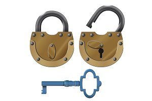 Padlock. Vector oldstyle heavy lock design