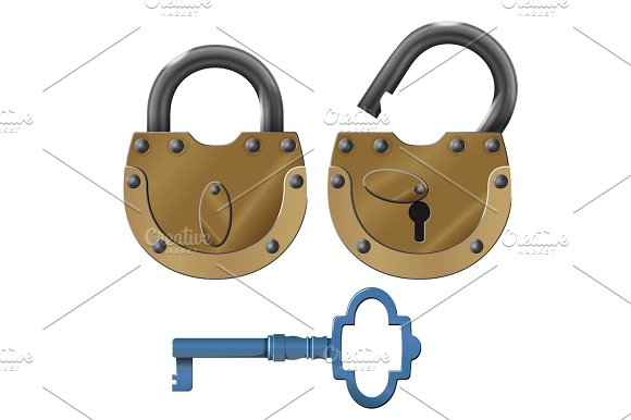 Padlock Vector Oldstyle Heavy Lock Design