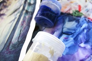 Watercolor gouache acrylic paint pot drawing macro photo