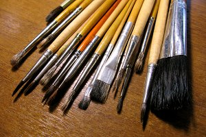 Wooden brush paintbrushes artist drawing macro photo