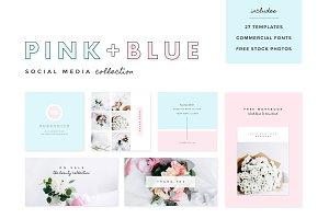 Pink + Blue Social Media Templates