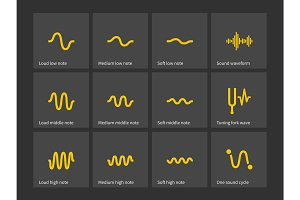 Sound note wave types icons.