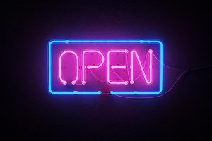 Open Sign Neon on wall.