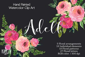 Watercolor Roses Clip Art - Adell