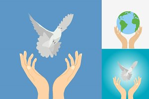 Hands with dove and Earth